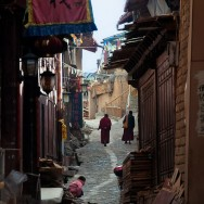 Monks in the alley of Shangri-la